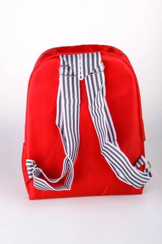 Рюкзак детский с полосатой лямкой красный